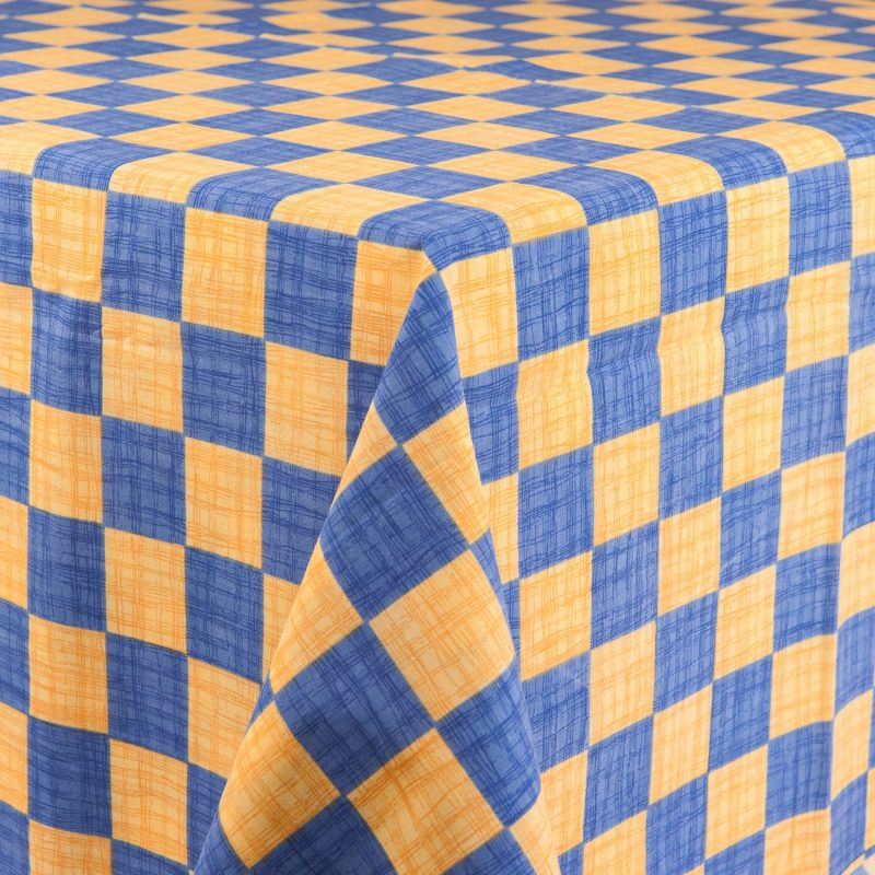 ... Yellow/Yellow And Blue Checker Tablecloth. ; 